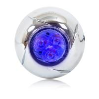 "1.80"" Round 3 LED Micro Emergency Warning Light - Blue Clear Lens"