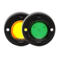 "1.7"" Round Mini Dual Color Emergency Warning Light - Green / Amber"