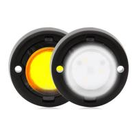 "1.7"" Round Mini Dual Color Emergency Warning Light - White / Amber"
