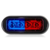 4 LED Rectangular Surface Mount Warning Blue / Red Clear Lens