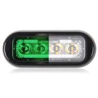 4 LED Rectangular Surface Mount Warning Green / White Clear Lens
