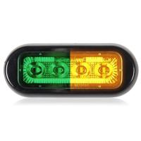 4 LED Rectangular Surface Mount Warning Green / Amber Clear Lens