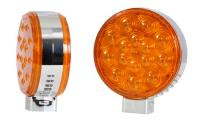 Round Amber/Amber Chrome Pedestal Light