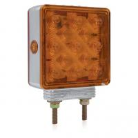 Square Chrome Double Face Pedestal Amber / Amber