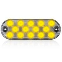 "14 LEDs Oval Amber Clear Lens 6.5"" Surface Mount Warning 8 Selectable Flash Patterns"