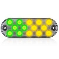 "14 LEDs Oval Amber/Green 6.5"" Surface Mount Warning 11 Selectable Flash Patterns"